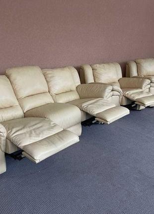 Шкіряний комплект диван б/у кожаный диван мягкая мебель