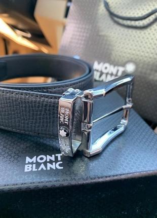 Мужской кожаный ремень montblanc reversible business в подароч...