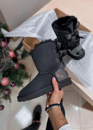 Ugg diamond black! женские замшевые зимние угги/ сапоги/ ботин...
