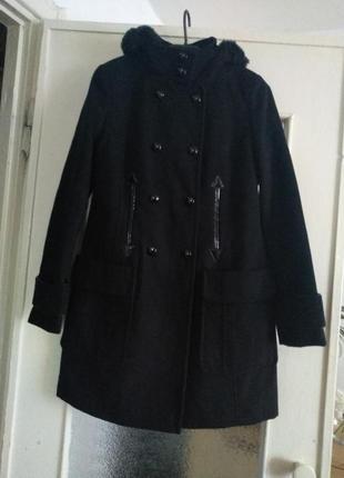 Распродажа!классическое черное пальто с капюшоном