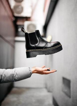 Женские зимние кожаные ботинки/ сапоги dr. martens chelsea bla...