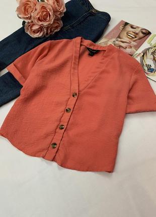 Актуальная блуза кораллового цвета new look