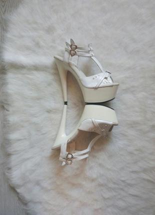 Белые туфли босоножки для стрипа пулл денс на высоком каблуке ...