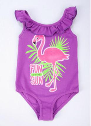 Купальник для девочки с фламинго