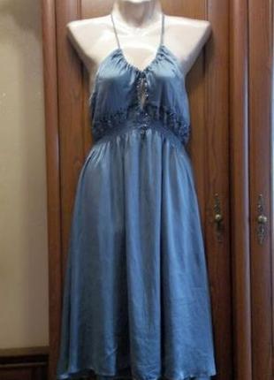 Легкое шелковое платье сарафан расшитый стеклярусом с вышивкой...