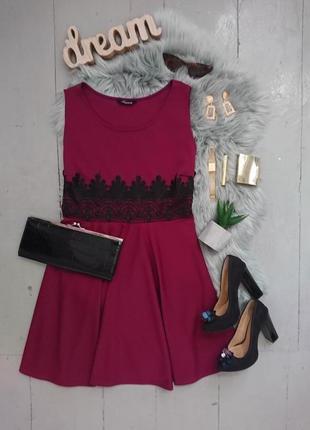 Нарядное яркое платье с кружевной вставкой №52max