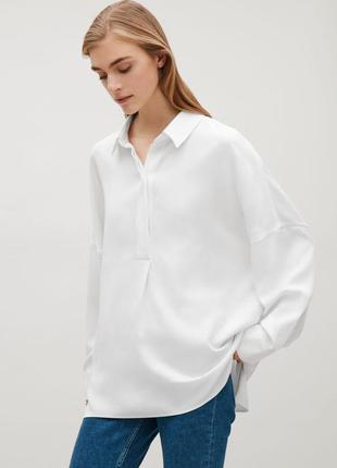 Белая блузка рубашка оверсайз лиоцел cos