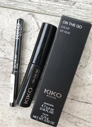 Kiko milano 🦚набір туш + олівець  on the go eye kit