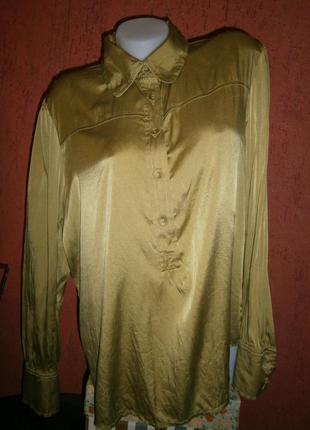 Красивая блуза шелк большой размер  атлас длинный рукав