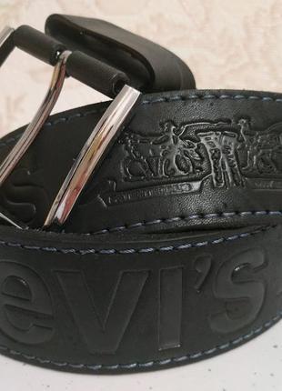 Кожаный ремень levi's натуральная кожа 4.5 см батал. толщина. ...