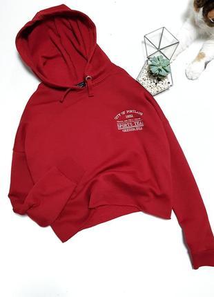 Красный кроп кофта худи топ с капюшоном на флисе