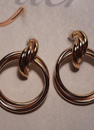 Серьги крупные кольца, цвет золото