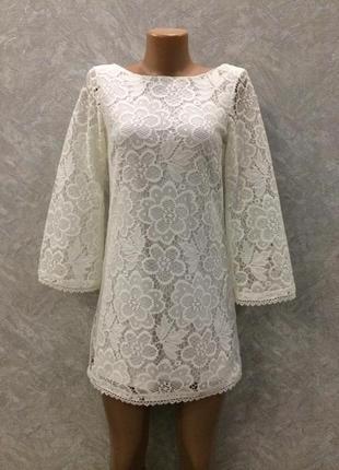 Платье кружевное с широким рукавом topshop