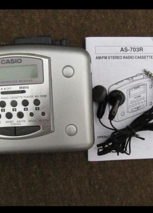 Кассетный плеер Casio AS-703R новый,автореверс,FM/AM приемник,суп