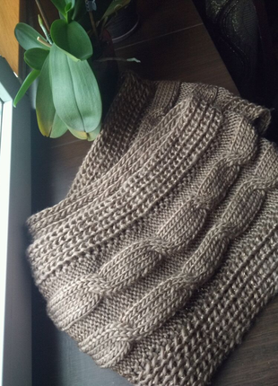 Теплый вязаный хомут снуд шарф