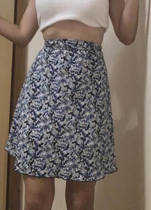 Юбка а-силуэт высокая посадка юбка в цветы