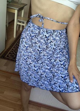 Красивая юбка в цветы высокая посадка