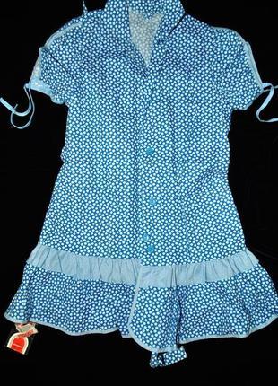 Платье новое сарафан винтаж! редкое! в горошек синее 134 140 8...