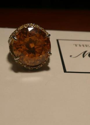 Кольцо камни стразы 19 размер золотое камень