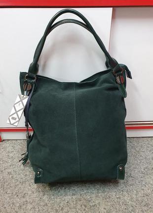 Стильная, модная женская сумка из натуральной кожи и натуральн...