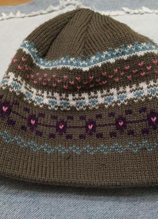Шапка шапочка на 2- 3 года с вышивкой вышитая двойной трикотаж...