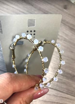 Широкие золотые сережки кольца six серьги колечки asos украшен...