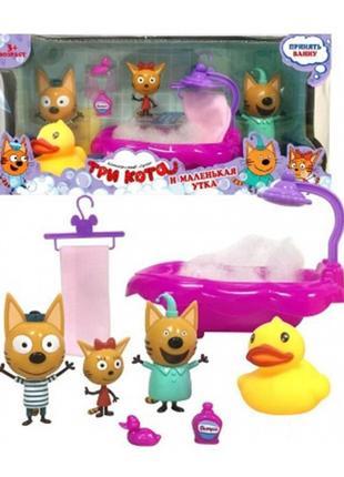 Игровой набор YM015 Три кота, ванна, герои, в коробке 28,5*9,5*13