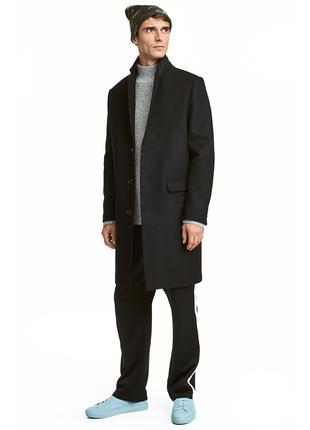 H&M Швеция р.54 мужское пальто шерстяное однобортное 62% шерсть