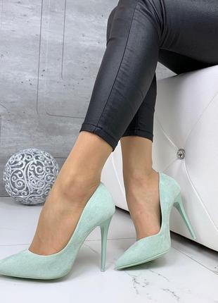 Замшевые мятные туфли на шпильке,замшевые туфли лодочки мятног...