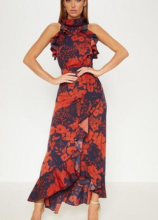 Платье макси темно синее в цветы с оборками красивое  размер хс