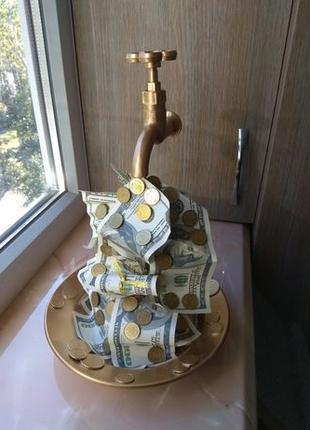 Парящий кран с долларами и монетами золото сувенир подарок