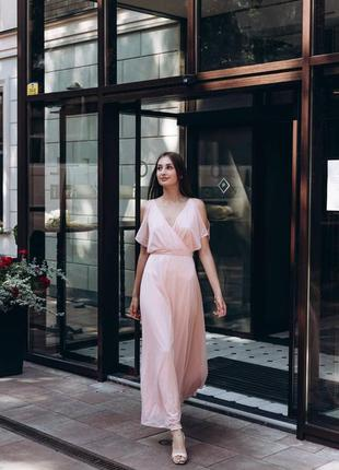 Платье женское из шифона розовое