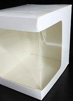 Коробка для торта 30*30*25 см Белая с окошком
