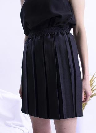 Короткая юбка плиссе, плиссированная юбка черная, чорна спідни...