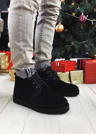 Мужские чёрные зимние ботинки/уги/угги, замшевые ugg neumel bl...