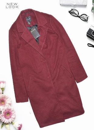 Новое бордовое демисезонное пальто new look