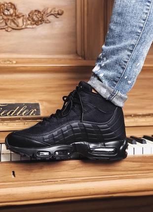 Мужские чёрные стильные кроссовки найк аир макс nike air max 9...