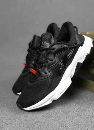 Женские кроссовки adidas ozweego (черно/белые)#адидас