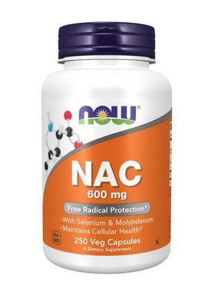 Аминокислота N-Ацетилцистеин Now Foods NAC 600 mg 250 вег капсул