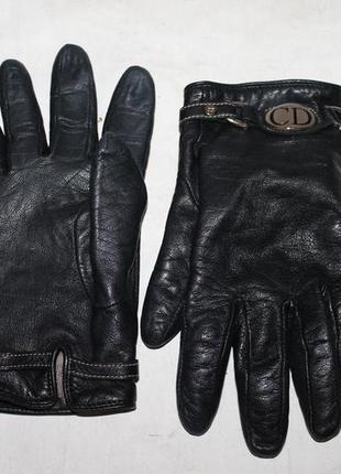 Оригинальные кожаные перчатки от christian dior 100% натуральн...