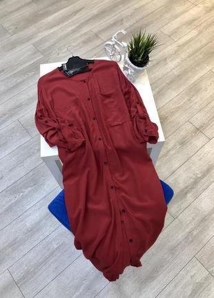 Платье рубашка оверсайз на пуговицах миди, легкое платье