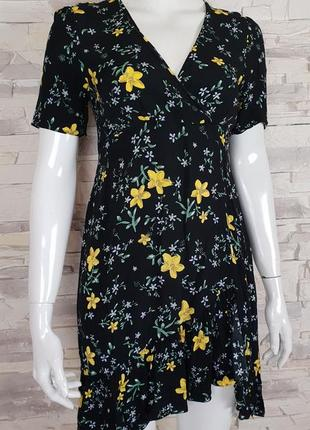Платье zara в цветочный принт  р.xs