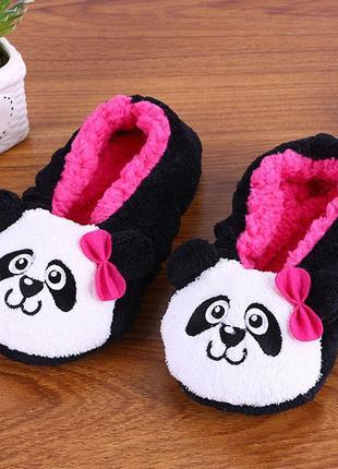 Тапочки балетки домашние женские комнатные теплые плюшевые панды