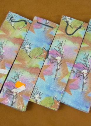 Бумажные подарочные пакеты (7х6х26 см)
