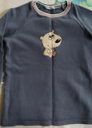 Кофта с начесом свитшот реглан 4- 5 лет