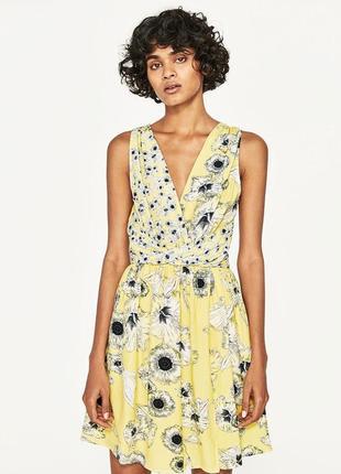 Милое желтое платье в цветы от zara