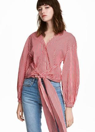 Очень крутая красная рубашка в полоску от h&m