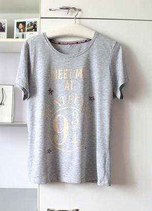 Серая футболка с принтом из гарри поттера от george