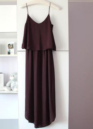Красивое бордовое миди платье от h&m