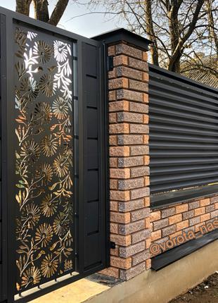Паркан Жалюзі із декоративною вставкою.Ворота і хвіртка.